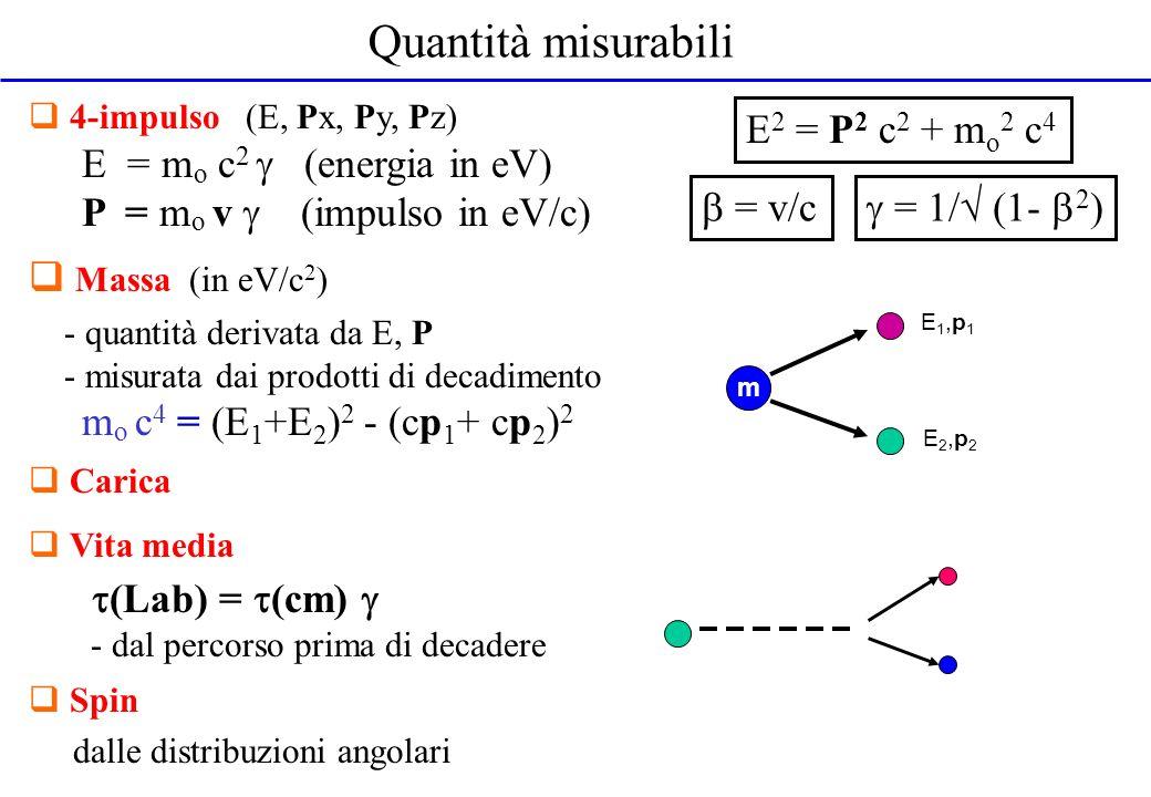 Quantità misurabili Massa (in eV/c2) (Lab) = (cm) 