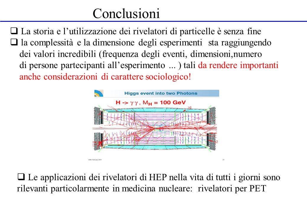 Conclusioni La storia e l'utilizzazione dei rivelatori di particelle è senza fine.