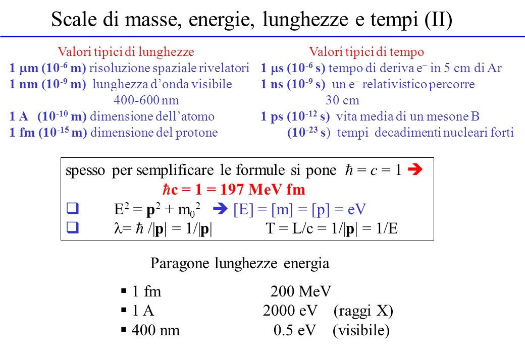 Scale di masse, energie, lunghezze e tempi (II)