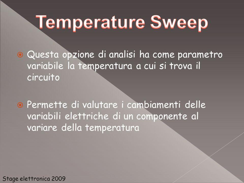 Questa opzione di analisi ha come parametro variabile la temperatura a cui si trova il circuito