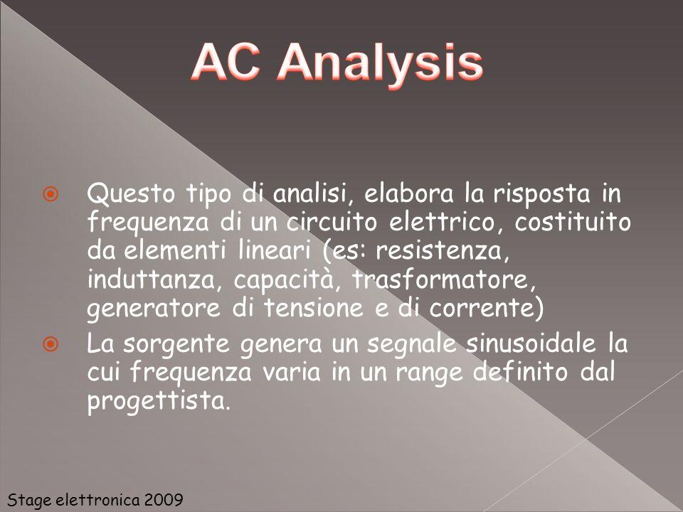 Questo tipo di analisi, elabora la risposta in frequenza di un circuito elettrico, costituito da elementi lineari (es: resistenza, induttanza, capacità, trasformatore, generatore di tensione e di corrente)