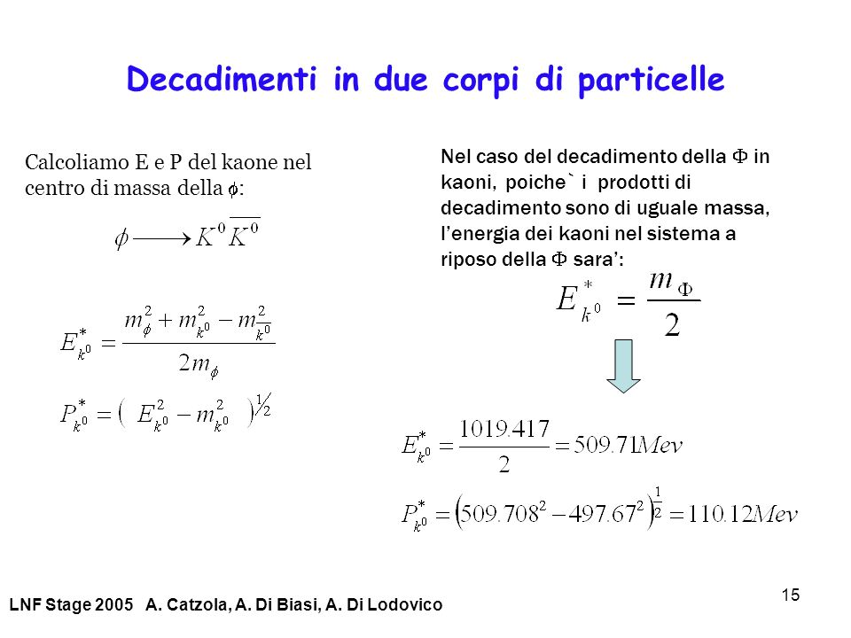Decadimenti in due corpi di particelle