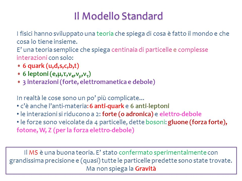 Il Modello Standard I fisici hanno sviluppato una teoria che spiega di cosa è fatto il mondo e che cosa lo tiene insieme.