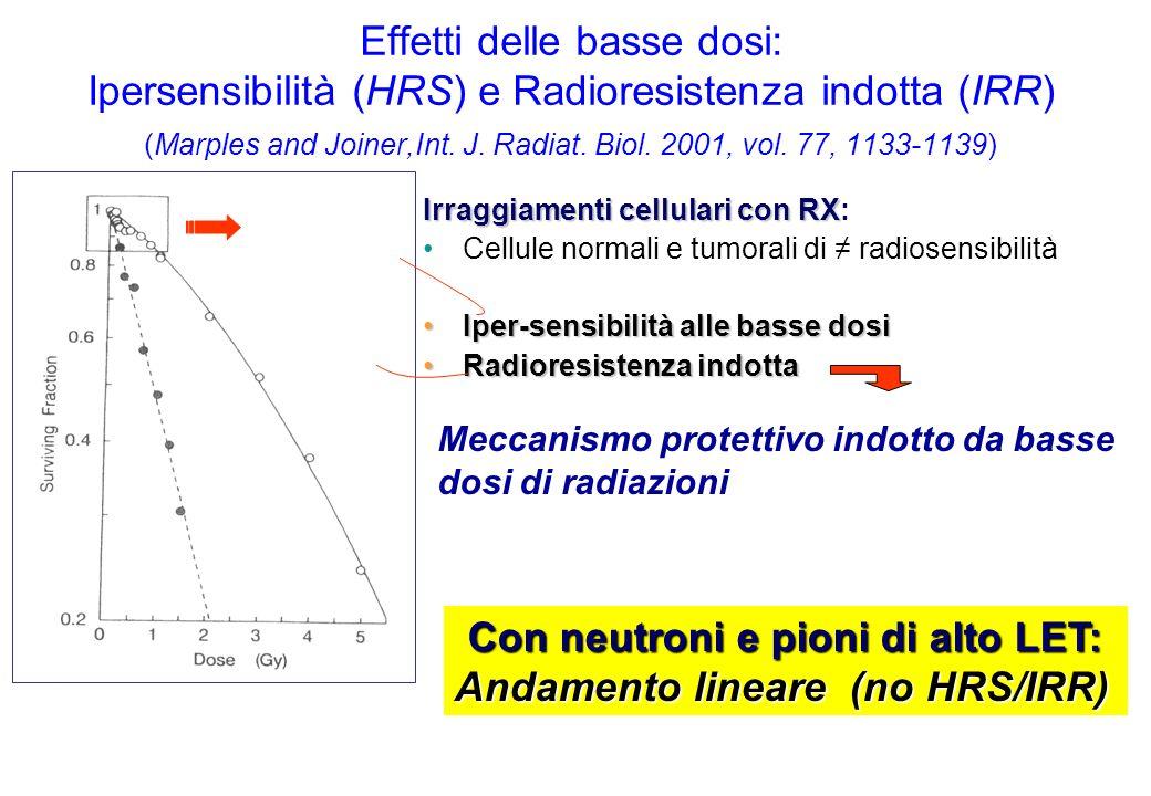 Con neutroni e pioni di alto LET: Andamento lineare (no HRS/IRR)