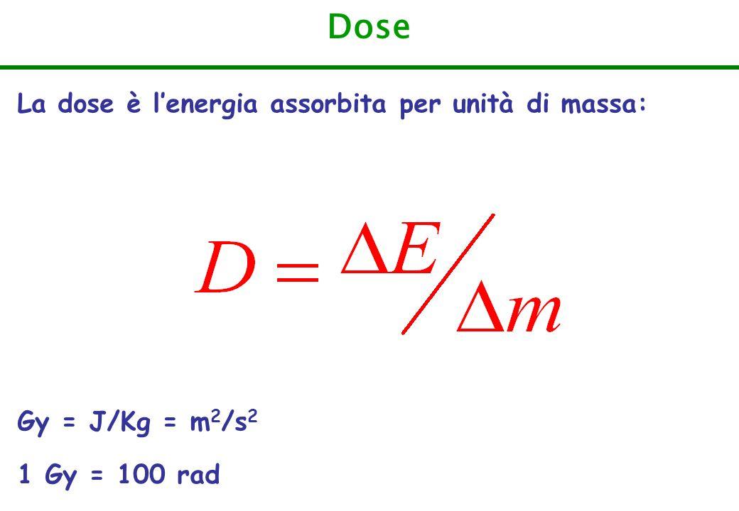 Dose La dose è l'energia assorbita per unità di massa:
