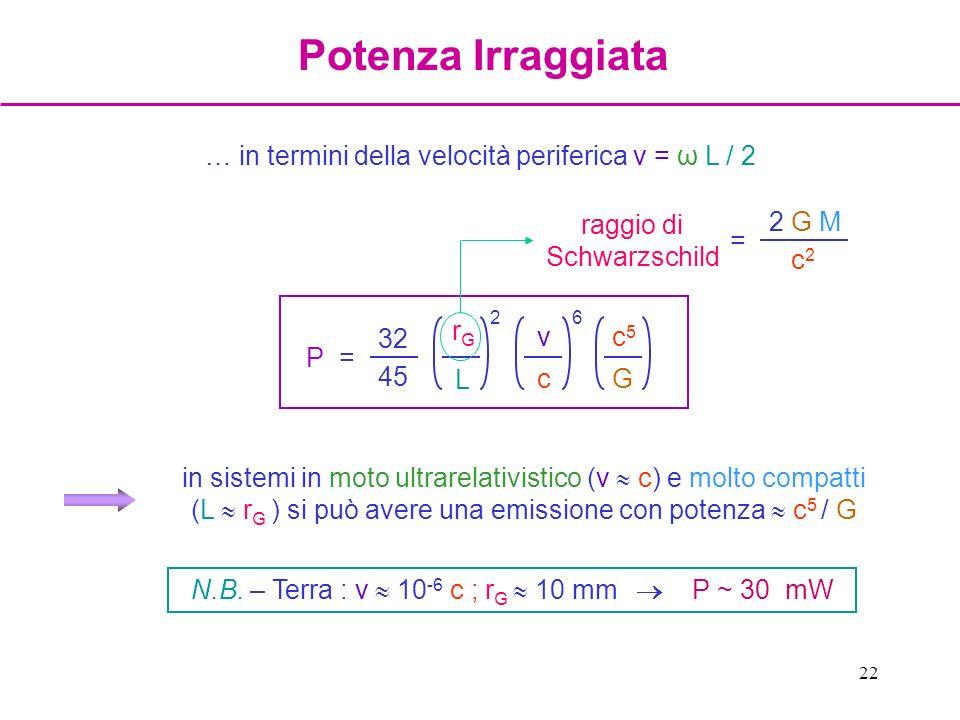 Potenza Irraggiata … in termini della velocità periferica v = ω L / 2