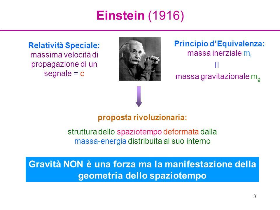 Einstein (1916) Principio d'Equivalenza: massa inerziale mi. massa gravitazionale mg. II.