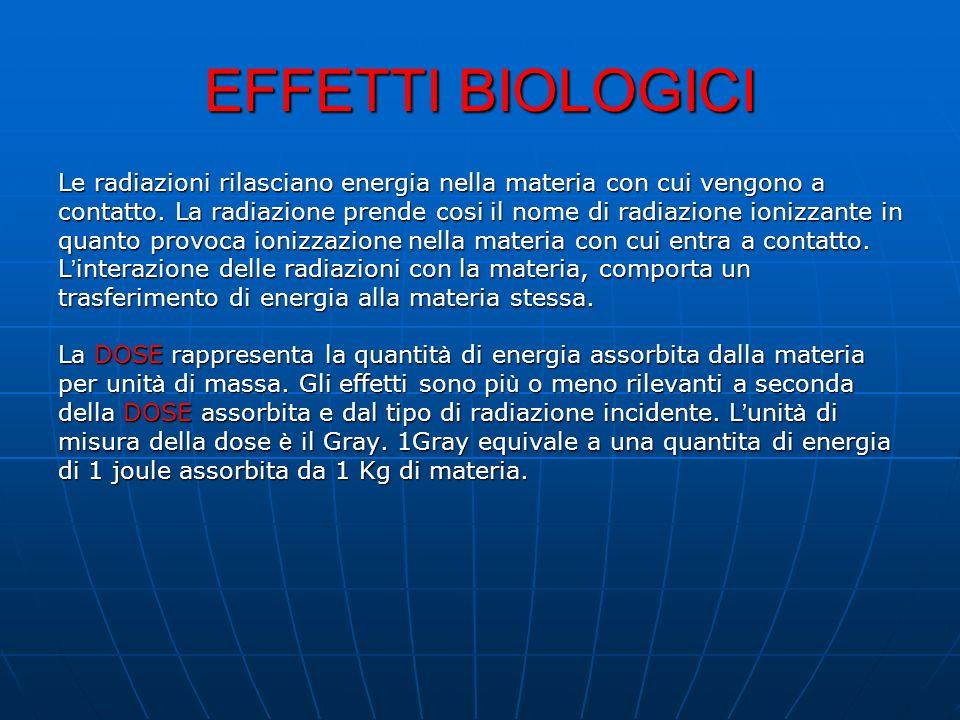 EFFETTI BIOLOGICI Le radiazioni rilasciano energia nella materia con cui vengono a.