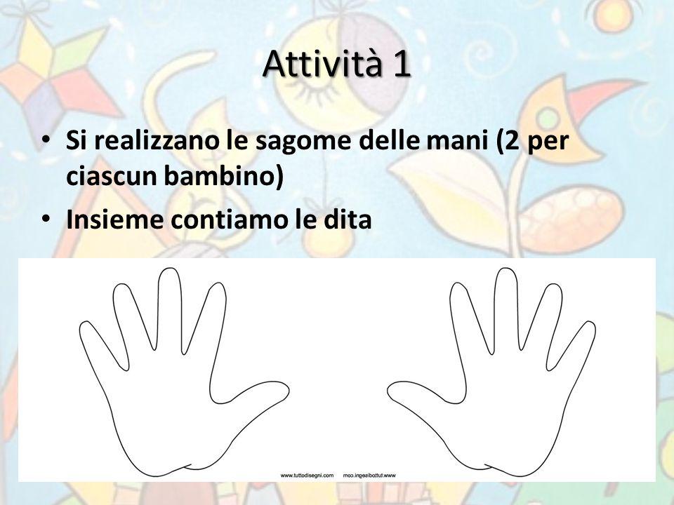 Attività 1 Si realizzano le sagome delle mani (2 per ciascun bambino)