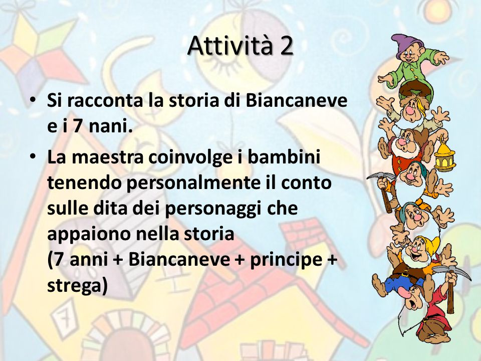 Attività 2 Si racconta la storia di Biancaneve e i 7 nani.