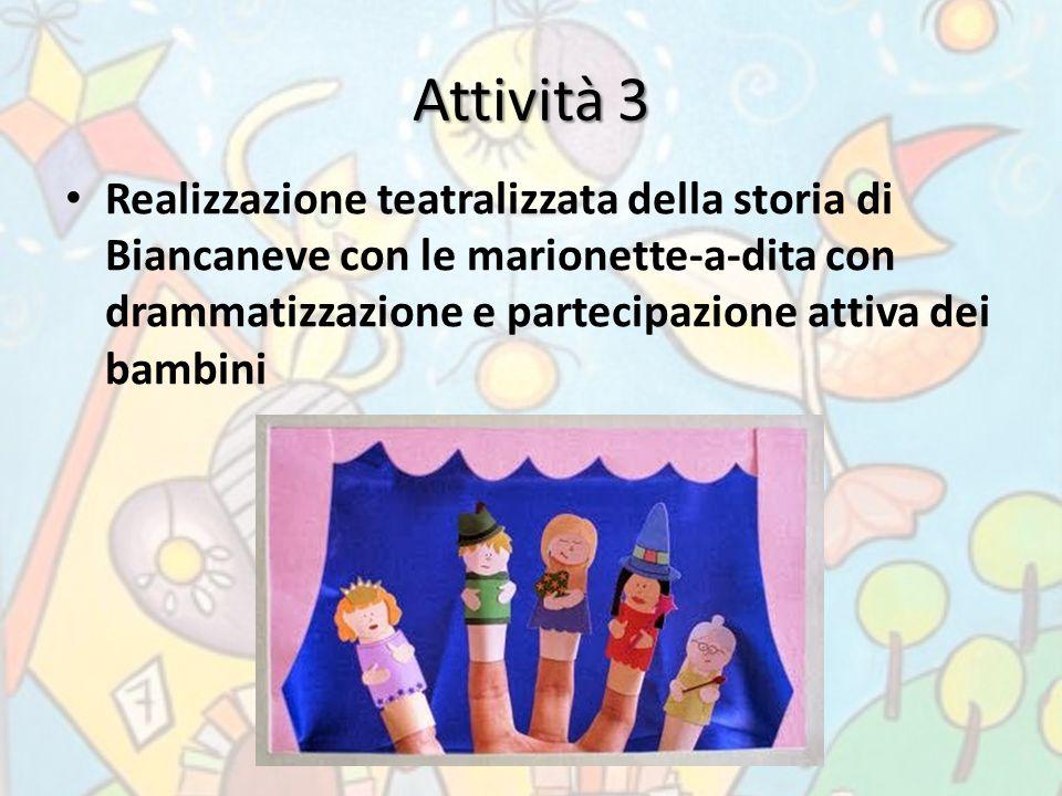 Attività 3 Realizzazione teatralizzata della storia di Biancaneve con le marionette-a-dita con drammatizzazione e partecipazione attiva dei bambini.