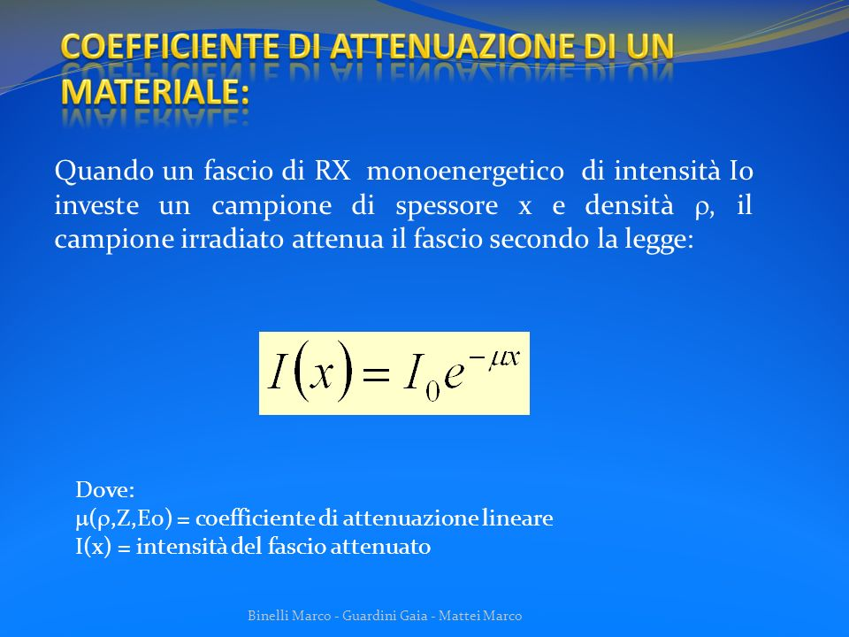 COEFFICIENTE DI ATTENUAZIONE DI UN MATERIALE: