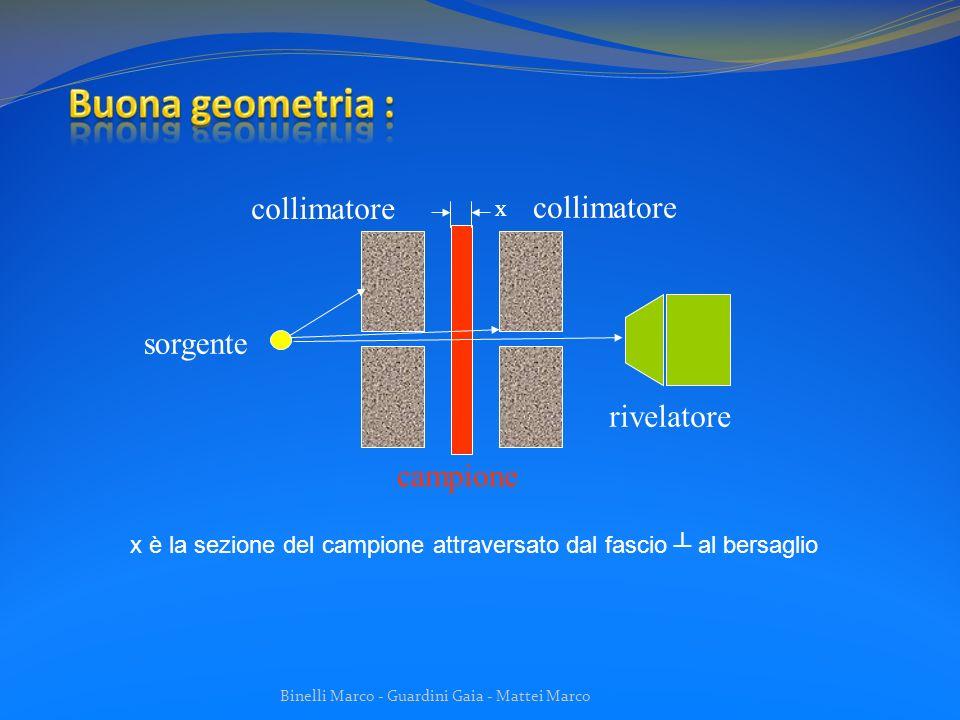 Buona geometria : collimatore collimatore sorgente rivelatore campione