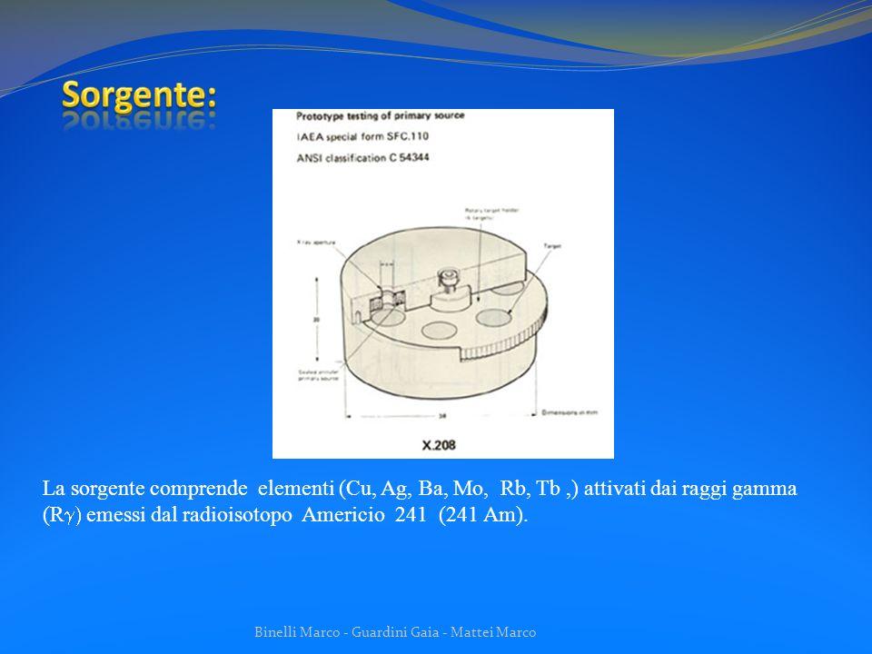 Sorgente: La sorgente comprende elementi (Cu, Ag, Ba, Mo, Rb, Tb ,) attivati dai raggi gamma (Rg) emessi dal radioisotopo Americio 241 (241 Am).