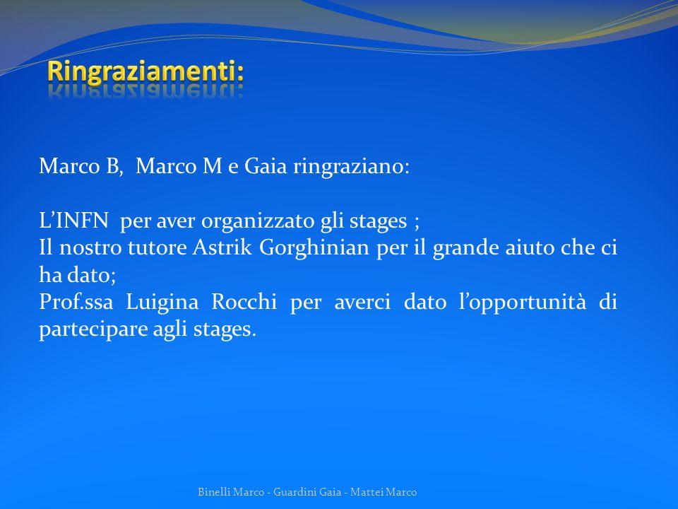 Ringraziamenti: Marco B, Marco M e Gaia ringraziano: