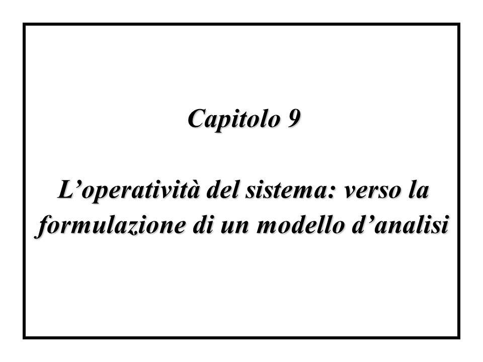 Capitolo 9 L'operatività del sistema: verso la formulazione di un modello d'analisi