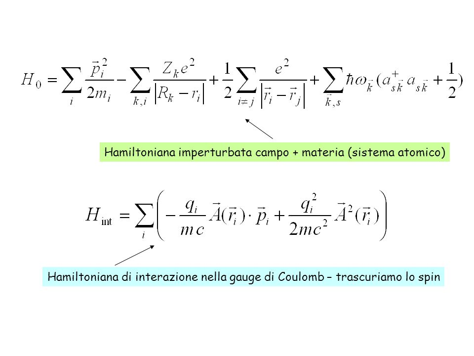 Hamiltoniana imperturbata campo + materia (sistema atomico)