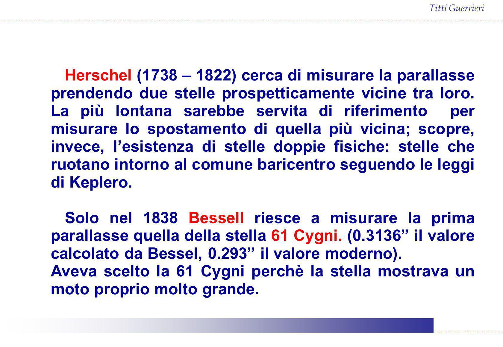 Herschel (1738 – 1822) cerca di misurare la parallasse prendendo due stelle prospetticamente vicine tra loro. La più lontana sarebbe servita di riferimento per misurare lo spostamento di quella più vicina; scopre, invece, l'esistenza di stelle doppie fisiche: stelle che ruotano intorno al comune baricentro seguendo le leggi di Keplero.