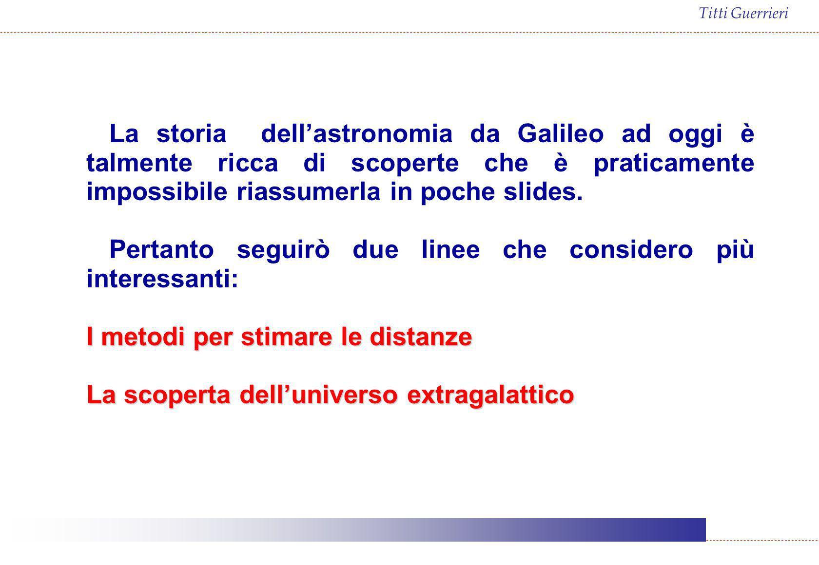 La storia dell'astronomia da Galileo ad oggi è talmente ricca di scoperte che è praticamente impossibile riassumerla in poche slides.