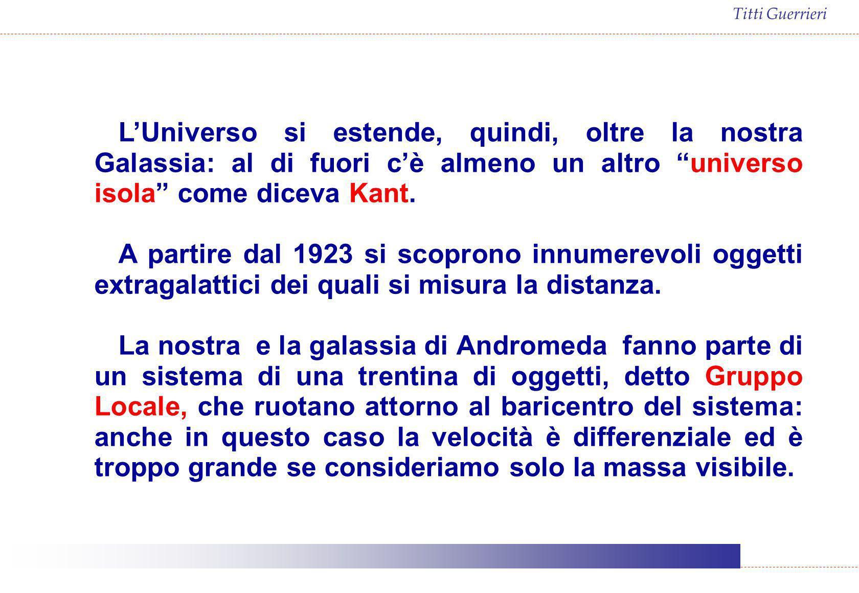 L'Universo si estende, quindi, oltre la nostra Galassia: al di fuori c'è almeno un altro universo isola come diceva Kant.