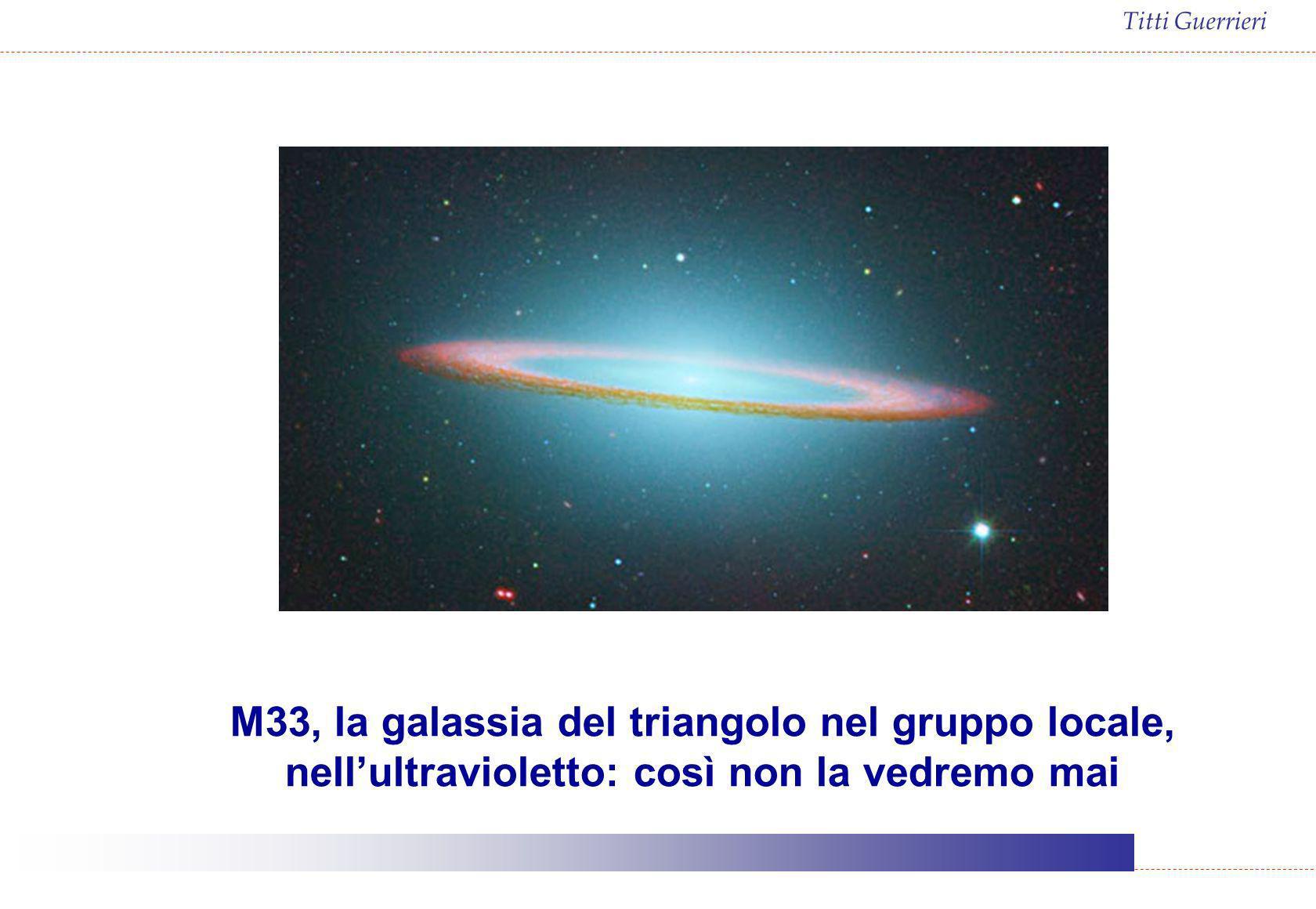 M33, la galassia del triangolo nel gruppo locale, nell'ultravioletto: così non la vedremo mai