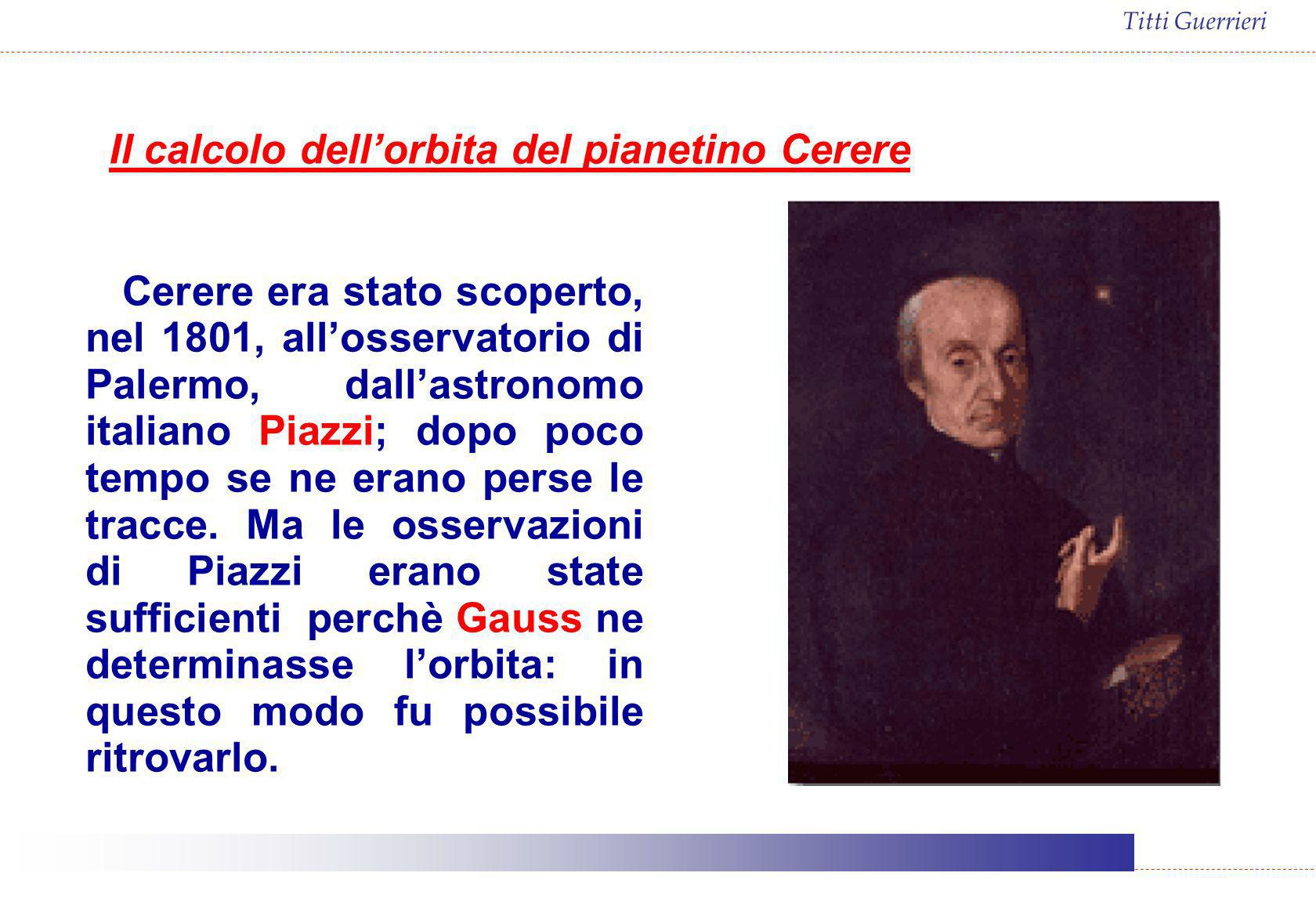 Il calcolo dell'orbita del pianetino Cerere