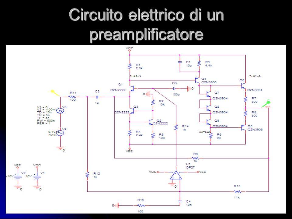 Circuito elettrico di un preamplificatore