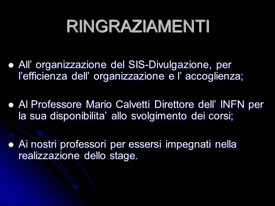 RINGRAZIAMENTI All' organizzazione del SIS-Divulgazione, per l'efficienza dell' organizzazione e l' accoglienza;