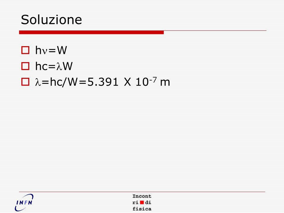 Soluzione hn=W hc=lW l=hc/W=5.391 X 10-7 m