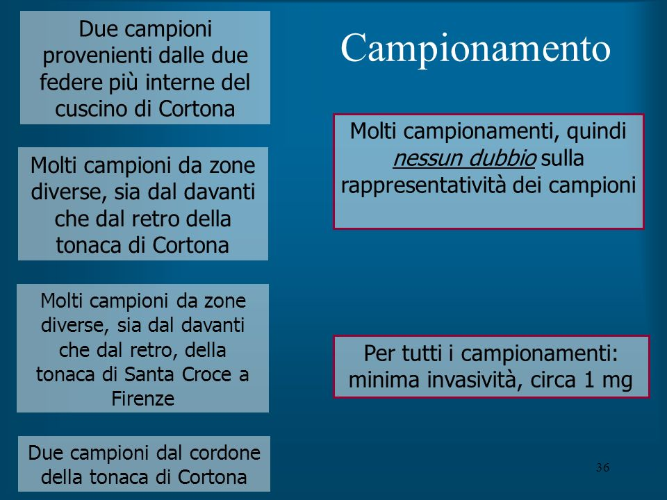 Campionamento Due campioni provenienti dalle due federe più interne del cuscino di Cortona.