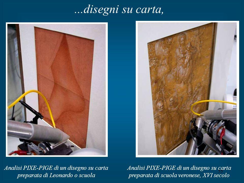 ...disegni su carta, Analisi PIXE-PIGE di un disegno su carta preparata di Leonardo o scuola.