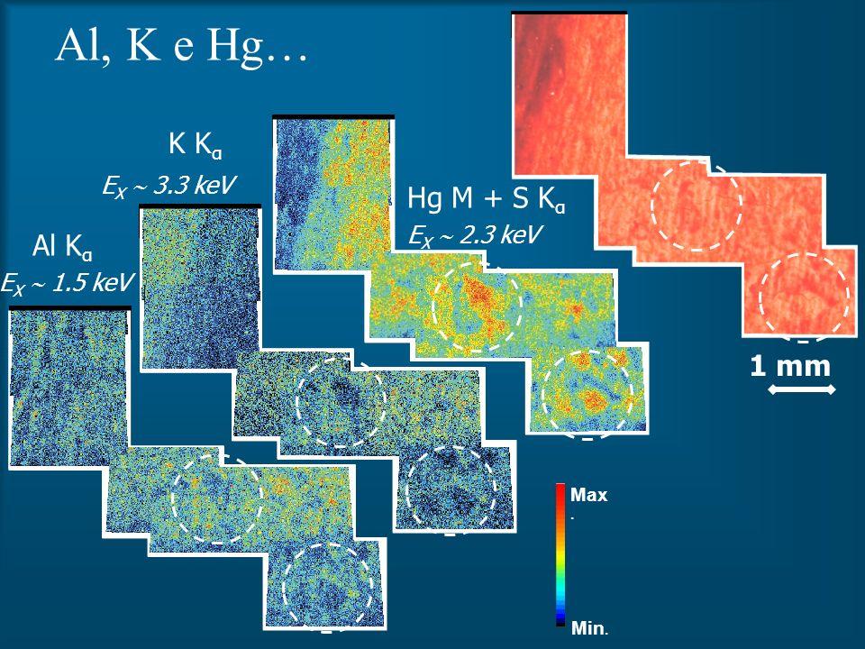 Al, K e Hg… K Kα Hg M + S Kα Al Kα 1 mm EX  3.3 keV EX  2.3 keV