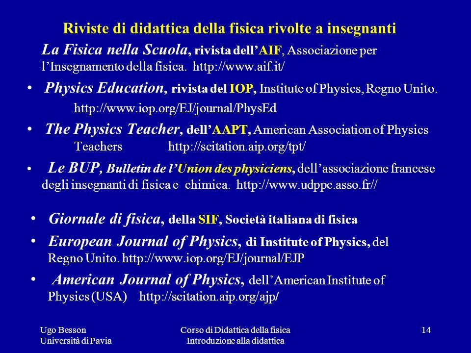 Riviste di didattica della fisica rivolte a insegnanti