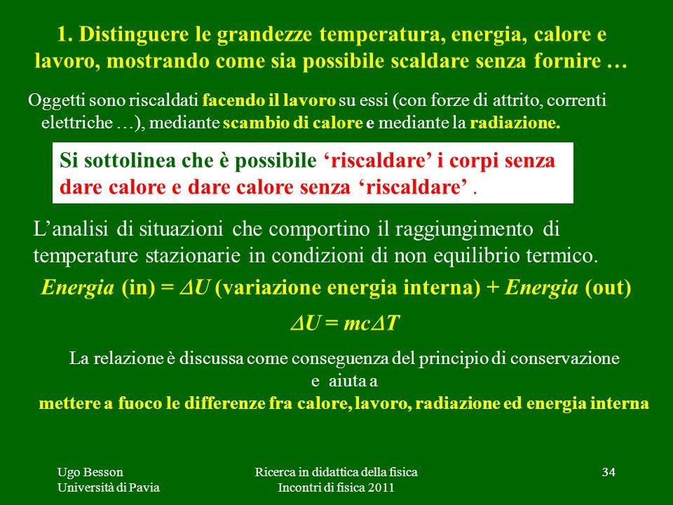 Energia (in) = DU (variazione energia interna) + Energia (out)