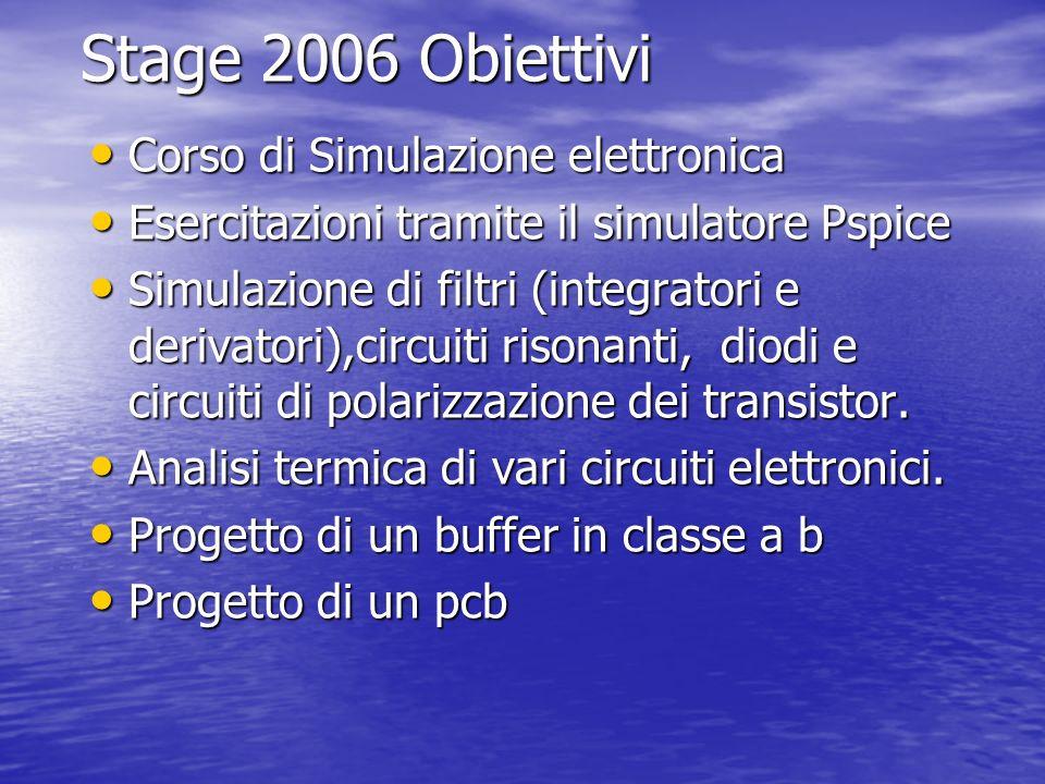 Stage 2006 Obiettivi Corso di Simulazione elettronica
