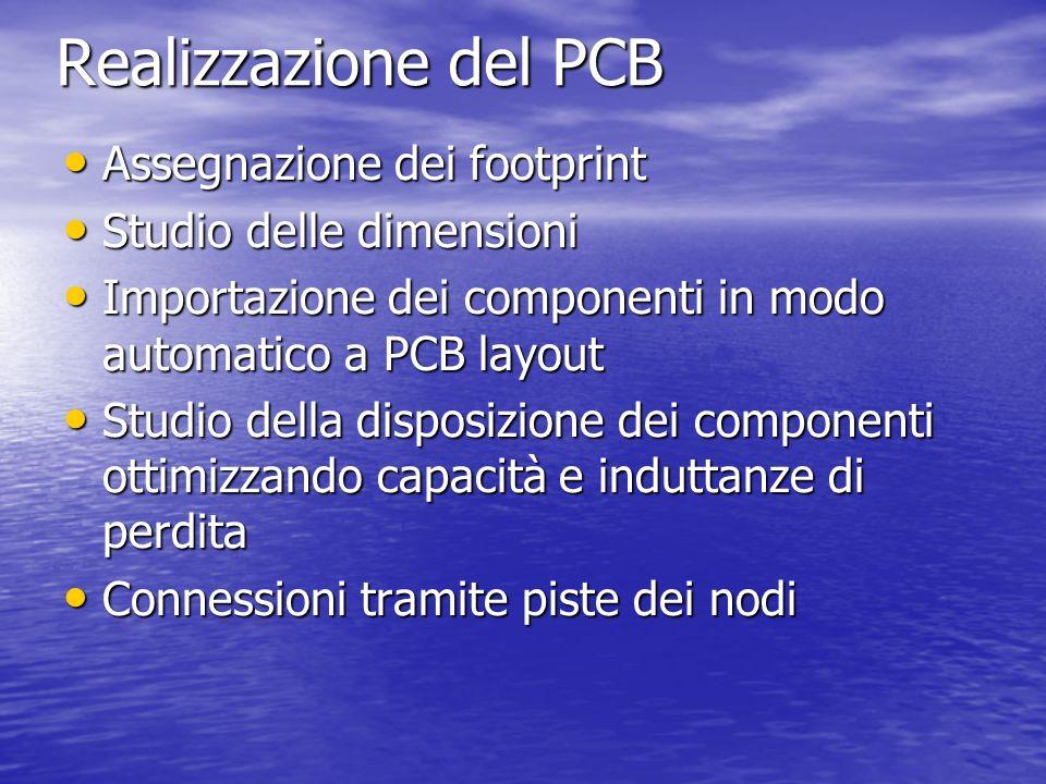 Realizzazione del PCB Assegnazione dei footprint