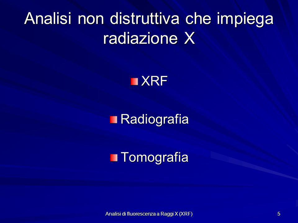 Analisi non distruttiva che impiega radiazione X