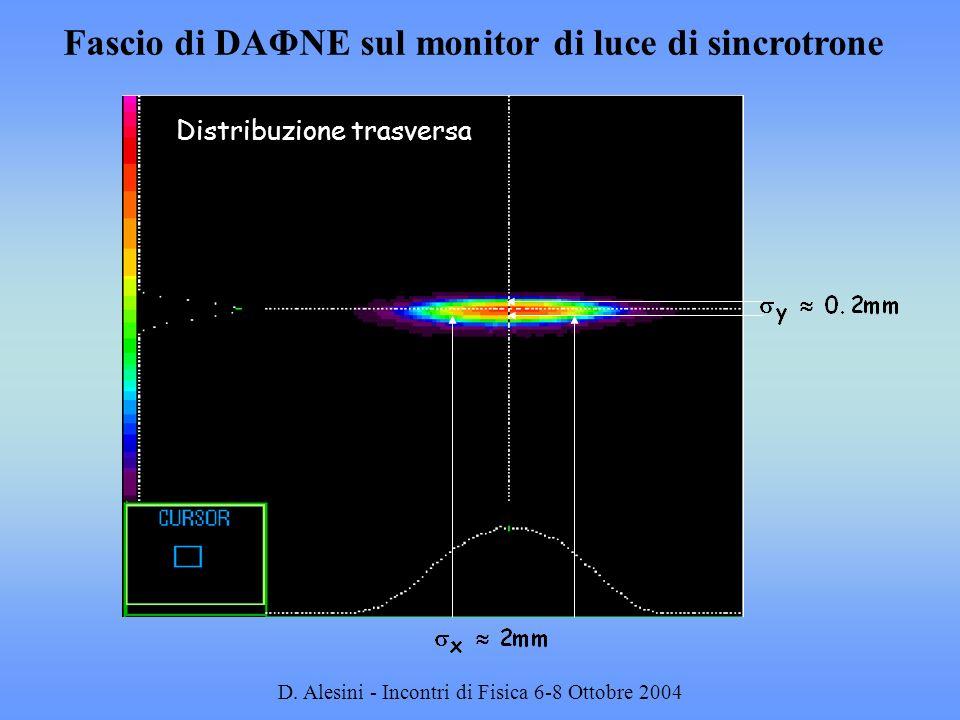 Fascio di DAΦNE sul monitor di luce di sincrotrone