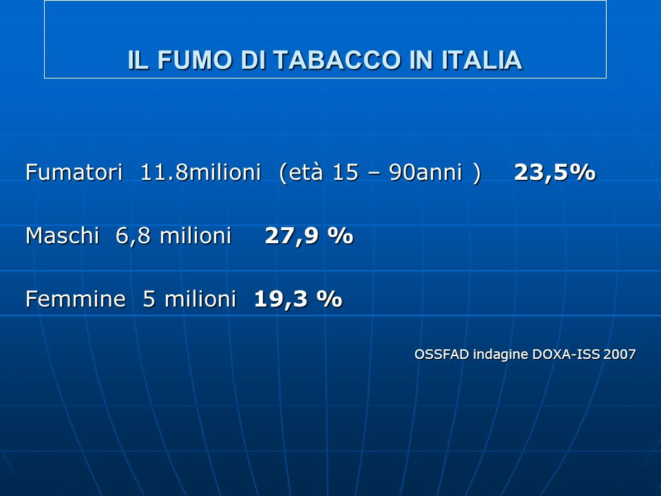 IL FUMO DI TABACCO IN ITALIA