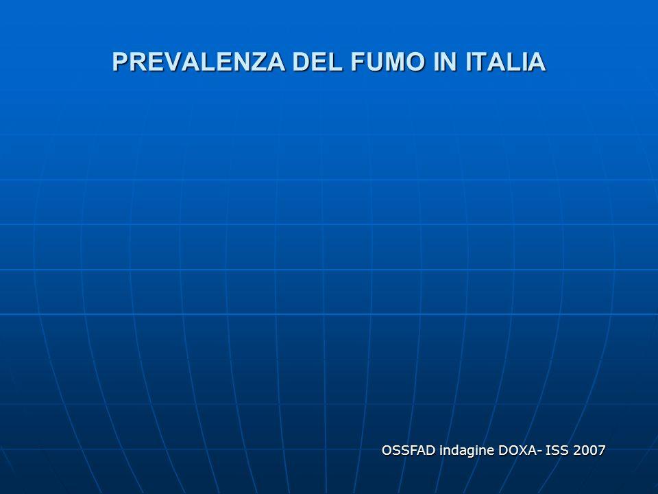 PREVALENZA DEL FUMO IN ITALIA