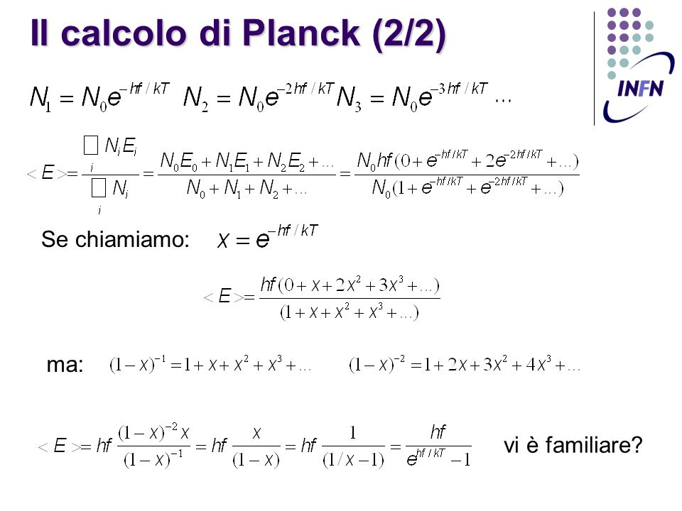 Il calcolo di Planck (2/2)
