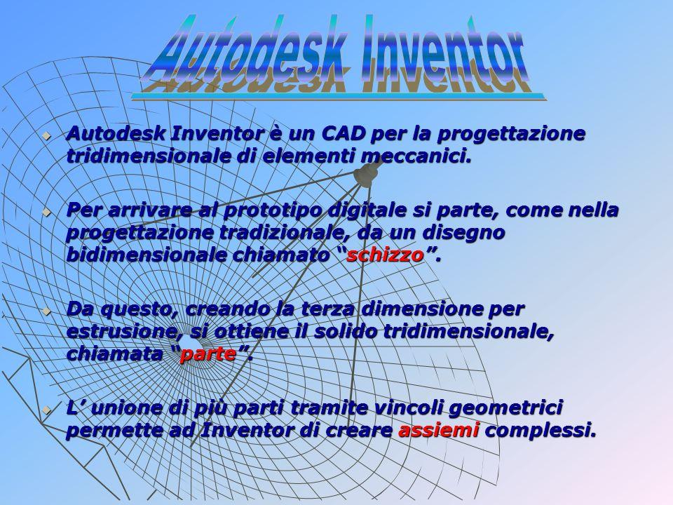 Autodesk Inventor Autodesk Inventor è un CAD per la progettazione tridimensionale di elementi meccanici.