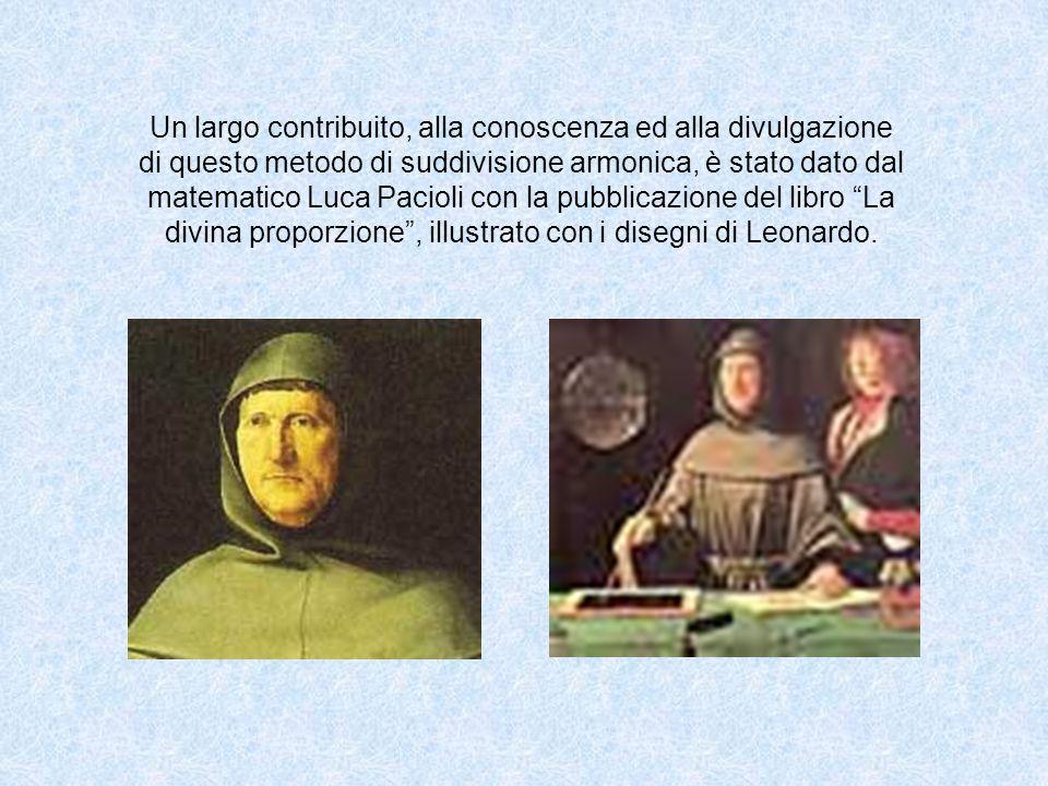 Un largo contribuito, alla conoscenza ed alla divulgazione di questo metodo di suddivisione armonica, è stato dato dal matematico Luca Pacioli con la pubblicazione del libro La divina proporzione , illustrato con i disegni di Leonardo.