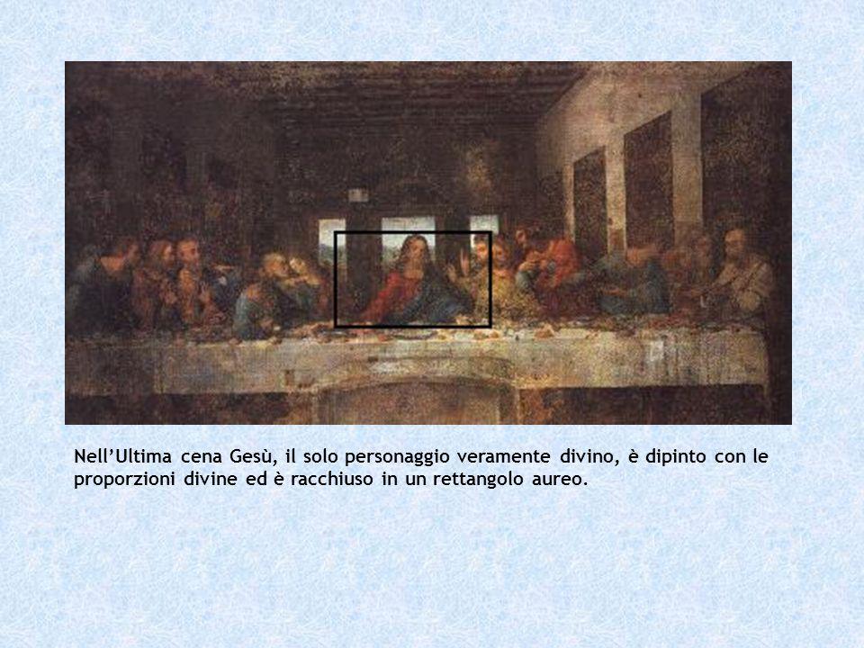 Nell'Ultima cena Gesù, il solo personaggio veramente divino, è dipinto con le proporzioni divine ed è racchiuso in un rettangolo aureo.