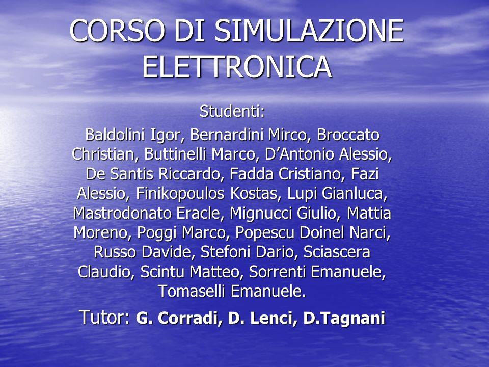 CORSO DI SIMULAZIONE ELETTRONICA