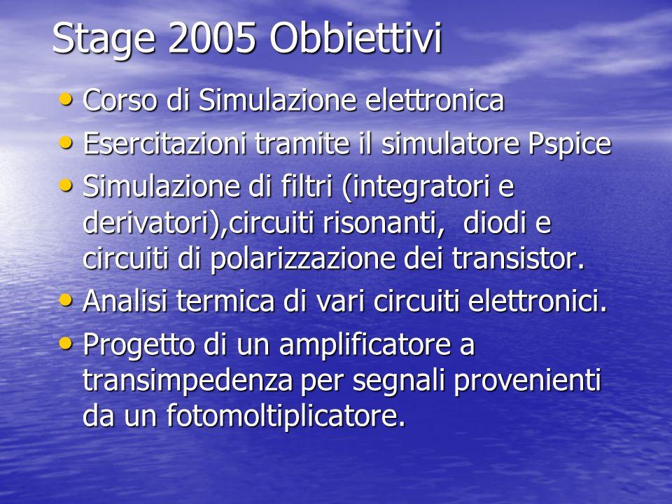 Stage 2005 Obbiettivi Corso di Simulazione elettronica