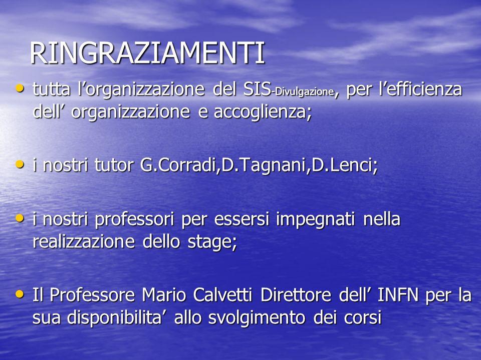 RINGRAZIAMENTI tutta l'organizzazione del SIS-Divulgazione, per l'efficienza dell' organizzazione e accoglienza;