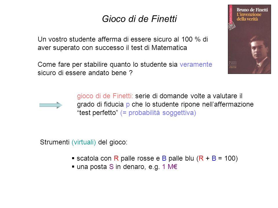Gioco di de Finetti Un vostro studente afferma di essere sicuro al 100 % di aver superato con successo il test di Matematica.