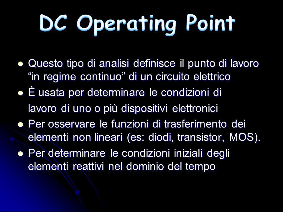 DC Operating Point Questo tipo di analisi definisce il punto di lavoro in regime continuo di un circuito elettrico.