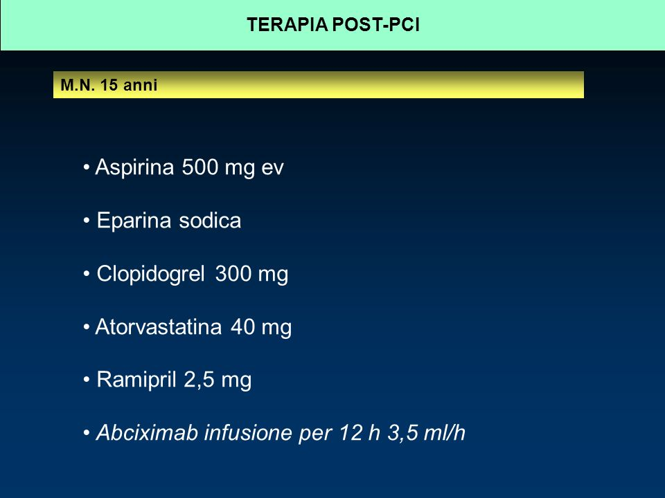 Abciximab infusione per 12 h 3,5 ml/h
